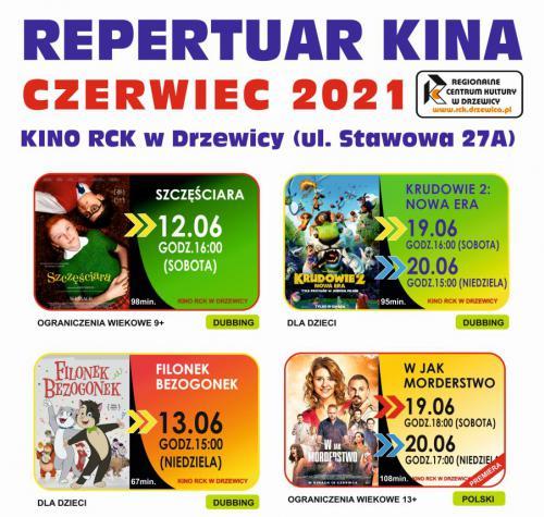 Grafika przedstawia repertuar kina na miesiąc czerwiec, ceny biletów oraz miniatury plakatów filmowych.