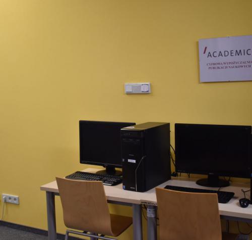 Terminal w MBP w Drzewicy przeznaczony dla użytkowników zainteresowanych cyfrową wypożyczalnią Academica.