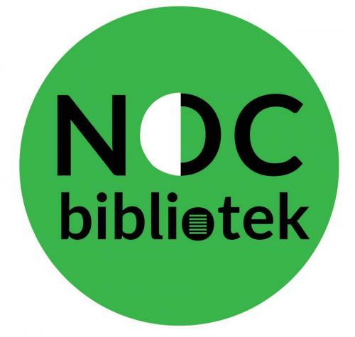 Napis: NOC BIBLIOTEK umieszczony na zielonym kole