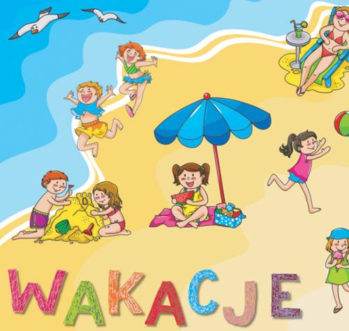 Dzieci bawią się nad morzem, biegają, budują zamek z piasku, grają w piłkę.