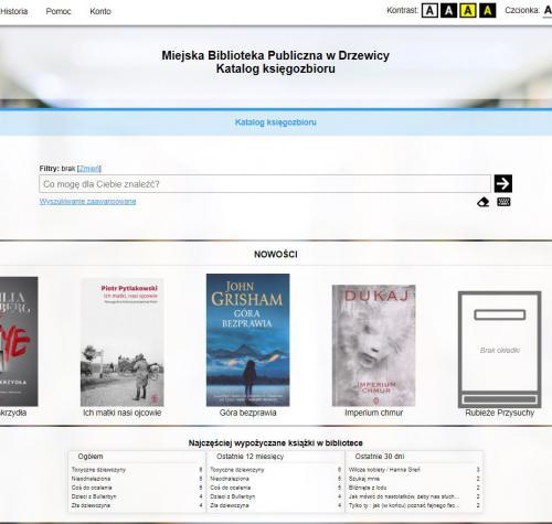 Obraz przedstawia katalog elektroniczny Miejskiej Biblioteki Publicznej w Drzewicy. Prezentowane są nowości książkowe zakupione do  biblioteki.