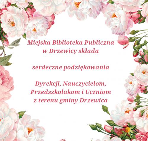Wokół podziękowań kolorowe letnie kwiaty.